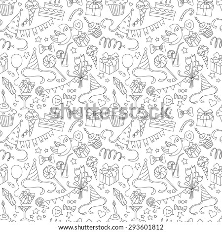 Vector illustration Happy birthday party doodle black and white seamless pattern - stock vector