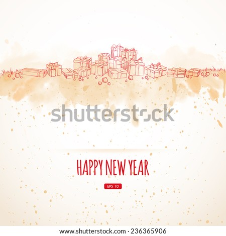 Vector illustration. Happy New Year. Christmas holidays. Set of gift packages drawn in sketch style. watercolor background - stock vector