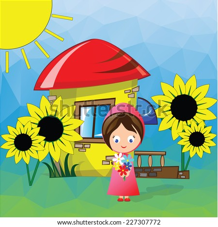 Vector illustration. Happy Tour with Cute Child - traveling in beautiful countryside with smiling lovely girl on summer vacation background with bright sunny and blue sky. - stock vector