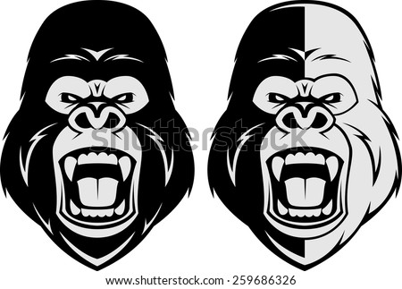 Vector illustration, head evil ferocious gorilla shouts - stock vector