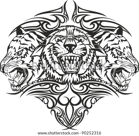 Vector illustration head tiger with patterns - stock vector