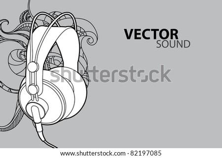 Vector illustration (headphones on gray background) - stock vector