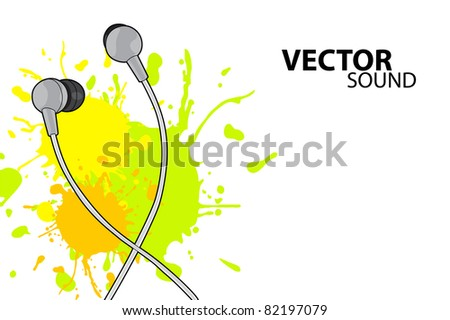 Vector illustration (headphones on white background)