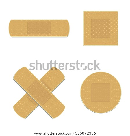 Vector illustration health care panel. Crossed, round, square and rectangle medical plaster set. Adhesive bandage - stock vector