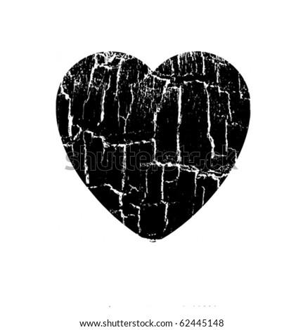 vector illustration heart in rift - stock vector