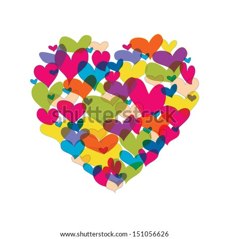 Vector illustration. Heart shape from many colorful hearts on white background