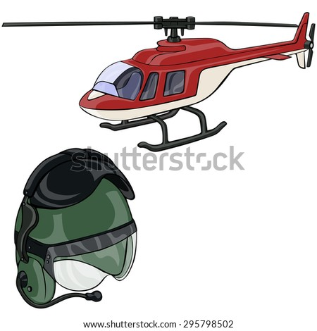 Vector illustration, helicopter and helmet, cartoon concept, white background.