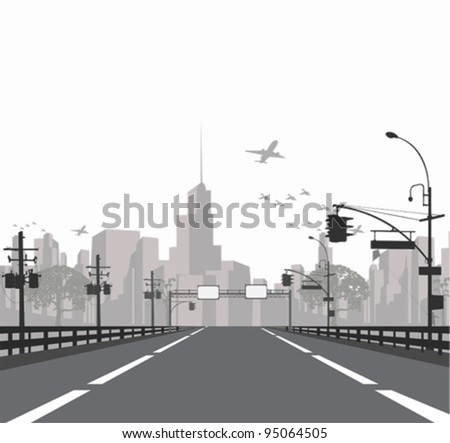 Vector illustration. - Highway leads to city .City skyline - stock vector