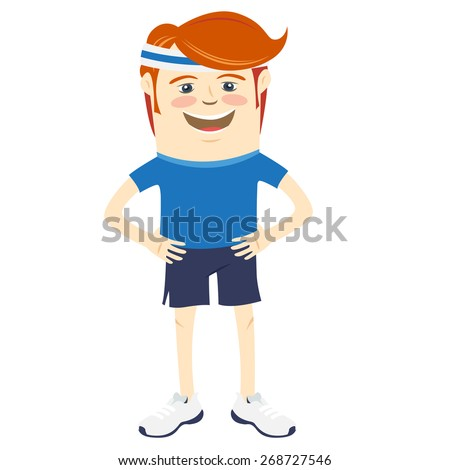 Vector illustration Hipster funny sportsman. Flat style - stock vector