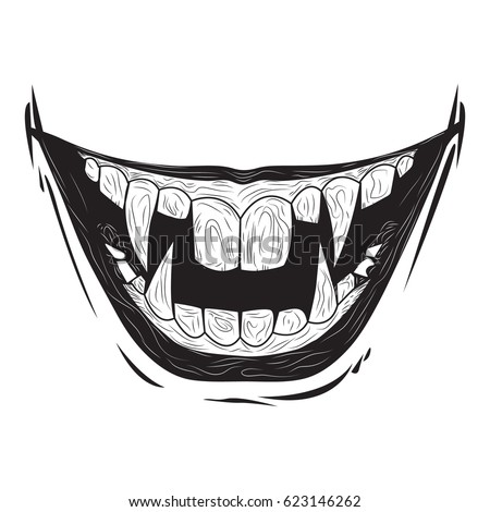 how to draw scary teeth