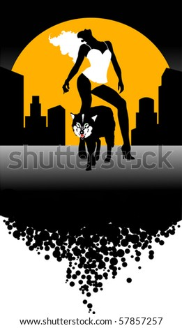 Vector illustration howling wild wolf (dog) under the moon; - stock vector