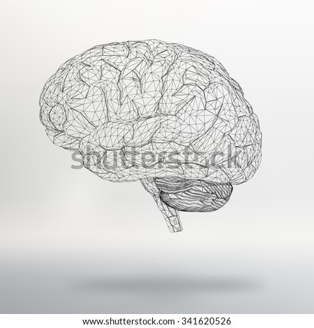 Vector illustration human brain. The structural grid of polygons. Abstract Creative concept vector background. Molecular lattice. Polygonal design style letterhead and brochure