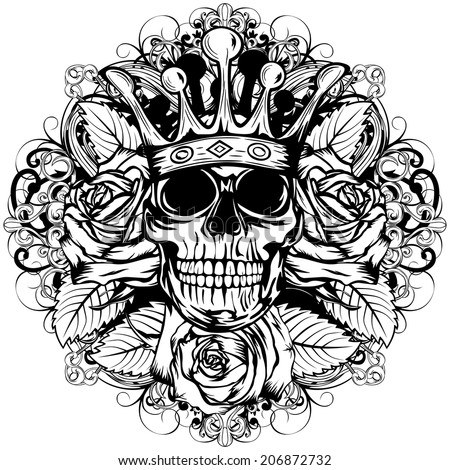 Vector illustration human death skull in crown with roses - stock vector