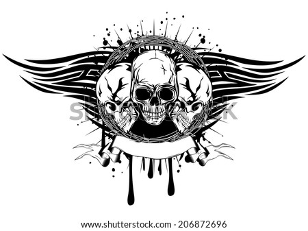 Vector illustration human death skulls with barbwire and tribal wings - stock vector