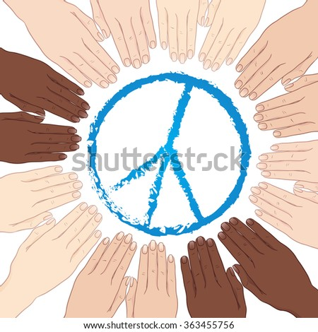 Vector illustration human hands with different skin tones in circle around sign of peace. World peace - stock vector