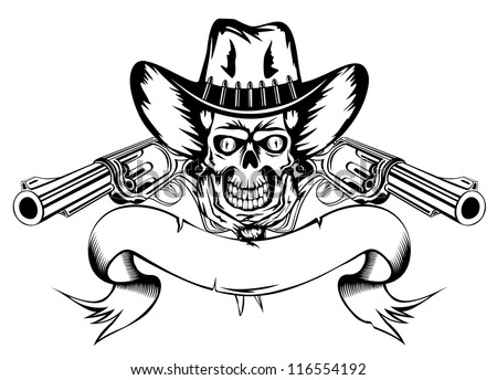 Vector  illustration human skull in cowboy's hat and two revolvers - stock vector