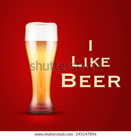 Vector Illustration I love beer. For the menu, pubs, bars and restaurants. - stock vector