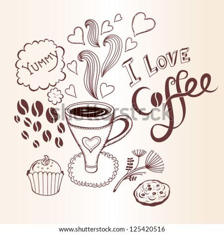 "Vector illustration ""I love coffee"" - stock vector"
