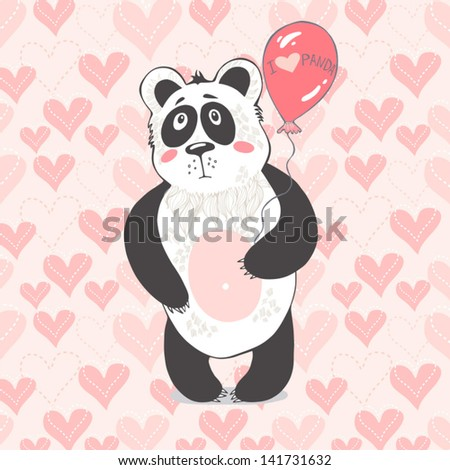 "Vector  illustration ""I love panda""."