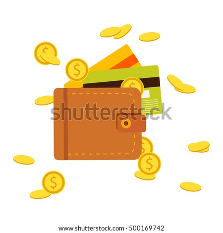 Vector illustration, icon, flat design. Flat wallet with money, coins and credit card, cash.