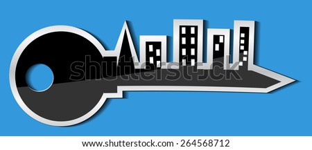 Vector illustration. Icon or logo symbolizing the mortgage lending. - stock vector