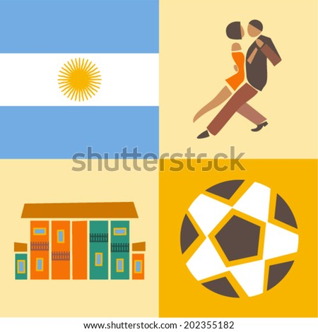 Vector illustration icon set of Argentina, flag, dance, house, soccer ball - stock vector