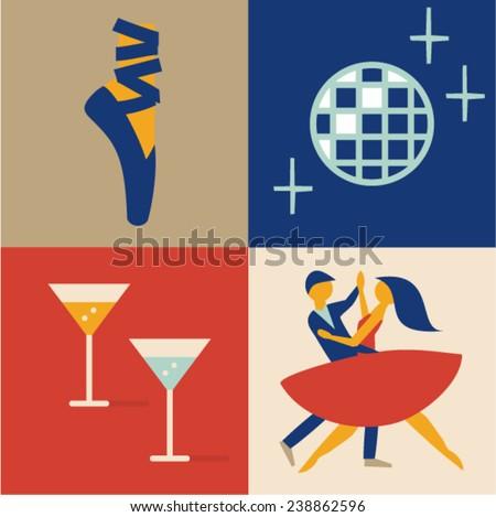 Vector illustration icon set of dance: ballet, disco ball, cocktail, couple - stock vector