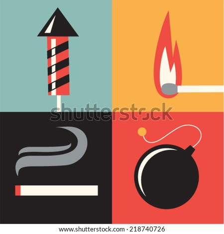 Vector illustration icon set of fire - stock vector