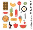 Vector illustration icon set of food: chocolate, banana, candy, kiwi, pineapple, sausage, eggs, pizza, bread, ice cream, fork, knife, cheese, wine, apple, watermelon - stock photo