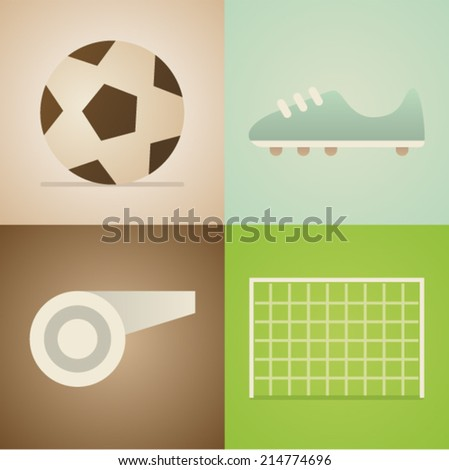 Vector illustration icon set of football: ball, shoes, whistle, gate - stock vector