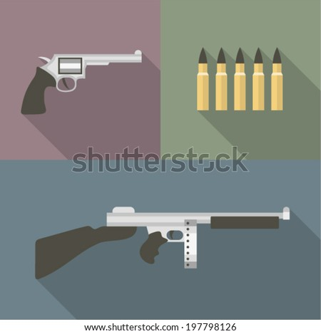 Vector illustration icon set of gun: pistol, bullet, automatic - stock vector
