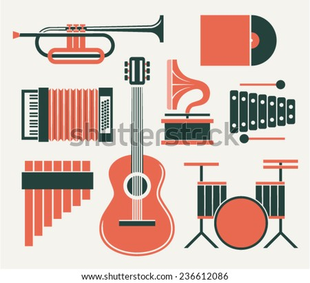 Vector illustration icon set of music: trumpet, record, accordion, gramophone, guitar, xylophone, guitar, drum - stock vector
