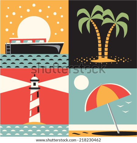 Vector illustration icon set of sea: ship, tree, lighthouse, beach - stock vector