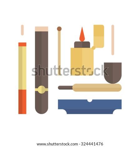 Vector illustration icon set of smoke  - stock vector