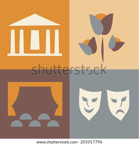 Vector illustration icon set of theatre: house, flowers, hall, mask - stock vector