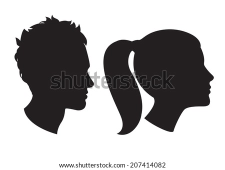 Vector Illustration Icons of Woman and man head silhouette - stock vector