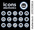 Vector illustration icons on electronics - stock vector