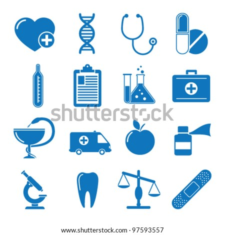 Vector illustration icons on medicine - stock vector