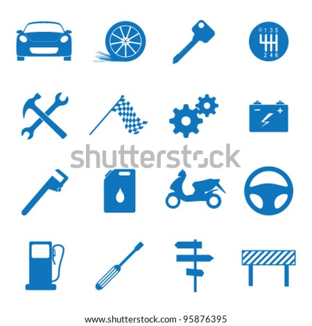 Vector illustration icons on the mechanics - stock vector