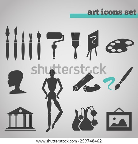 vector illustration icons set of art supplies and instruments for painting, drawing, sketching isolated on grey background. - stock vector