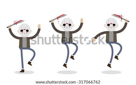 Vector illustration if the killer man from the Friday 13th. Man in jeans and jacket with machete jumping. - stock vector
