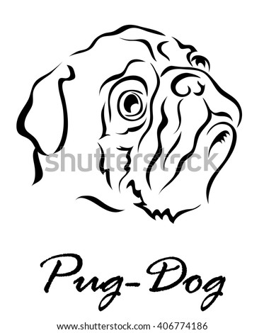Vector illustration. Illustration shows a dog breed Pug Dog