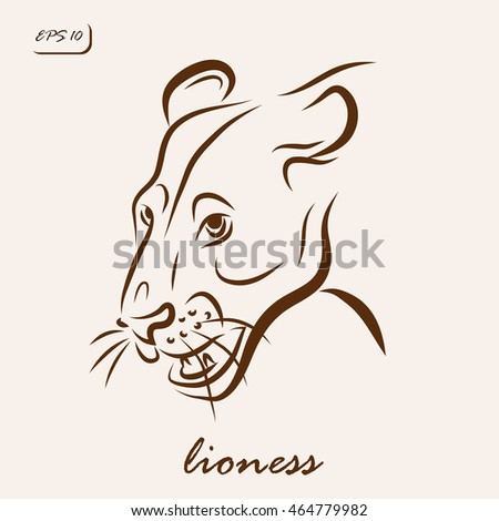 Vector illustration. Illustration shows a lioness