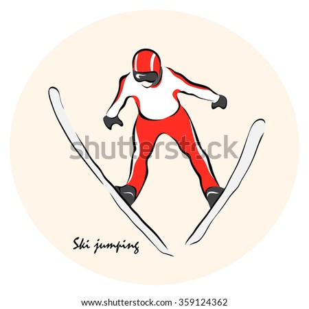 Vector illustration. Illustration shows the winter sports. Ski jumping