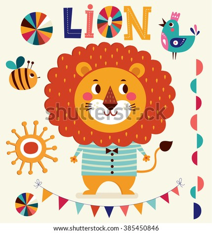 Vector illustration in cartoon naive style. Lovely cute lion. Baby birth card with lion. - stock vector