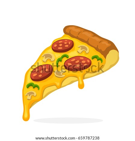 Charming Vector Illustration Cartoon Style Pizza Slice Stock Vector 659787238    Shutterstock