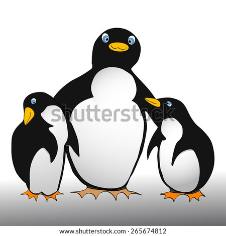 vector illustration in comic style shows two little penguins with aparent