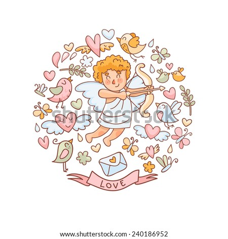 Vector illustration in doodle style for Valentine's Day. Cupid, birds, hearts and other elements. - stock vector