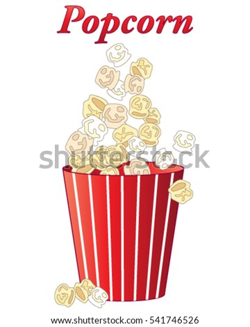 vector illustration in eps 10 format of delicious fresh popcorn in a red and white stripey carton on a white background