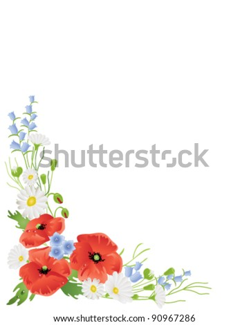 vector illustration in eps 10 format of summer wildflowers poppies harebells and daisies on white with lots of copy space ideal for florist business or greetings cards - stock vector